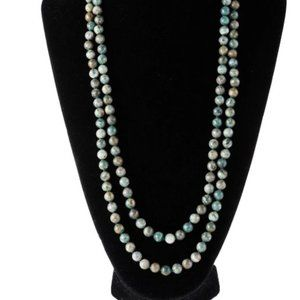 Natural Beads Green Statement Layered Necklace